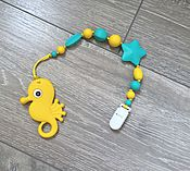 Работы для детей, ручной работы. Ярмарка Мастеров - ручная работа Держатель с морским коньком желто-бирюзовый. Handmade.