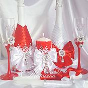Свадебный салон ручной работы. Ярмарка Мастеров - ручная работа Бело- красная классика набор свадебный. Handmade.