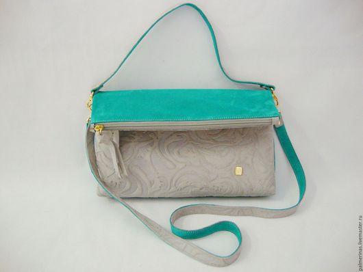 Женские сумки ручной работы. Ярмарка Мастеров - ручная работа. Купить Бирюзовая замшевая сумочка. Handmade. Тёмно-бирюзовый, замша