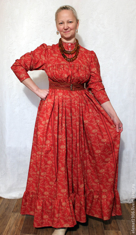 Платья ручной работы. Ярмарка Мастеров - ручная работа. Купить Русское платье. Handmade. Коралловый, платье с поясом, платье в этностиле