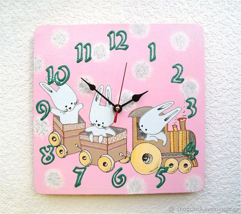 Pink children's clock Bunnies in the tram, Watch, Novosibirsk,  Фото №1