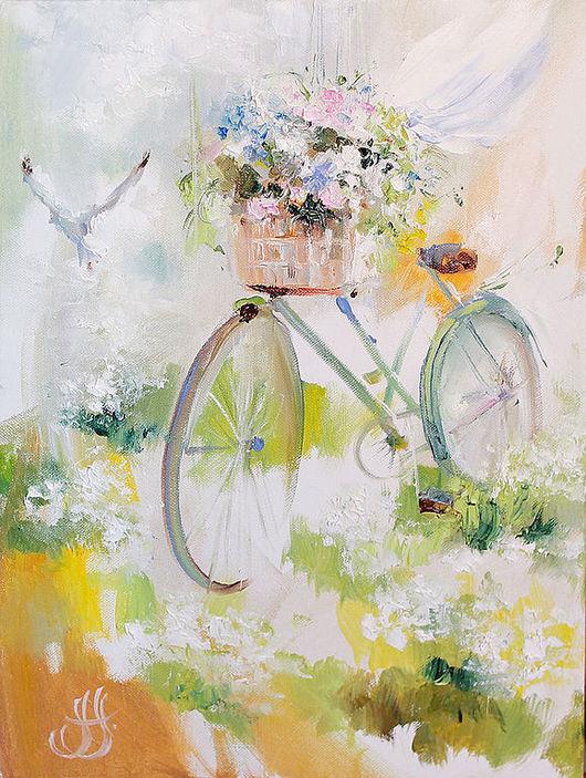 Картины цветов ручной работы. Ярмарка Мастеров - ручная работа. Купить Flower wind. Bicycles. Handmade. Картина на холсте, для нее, легкость