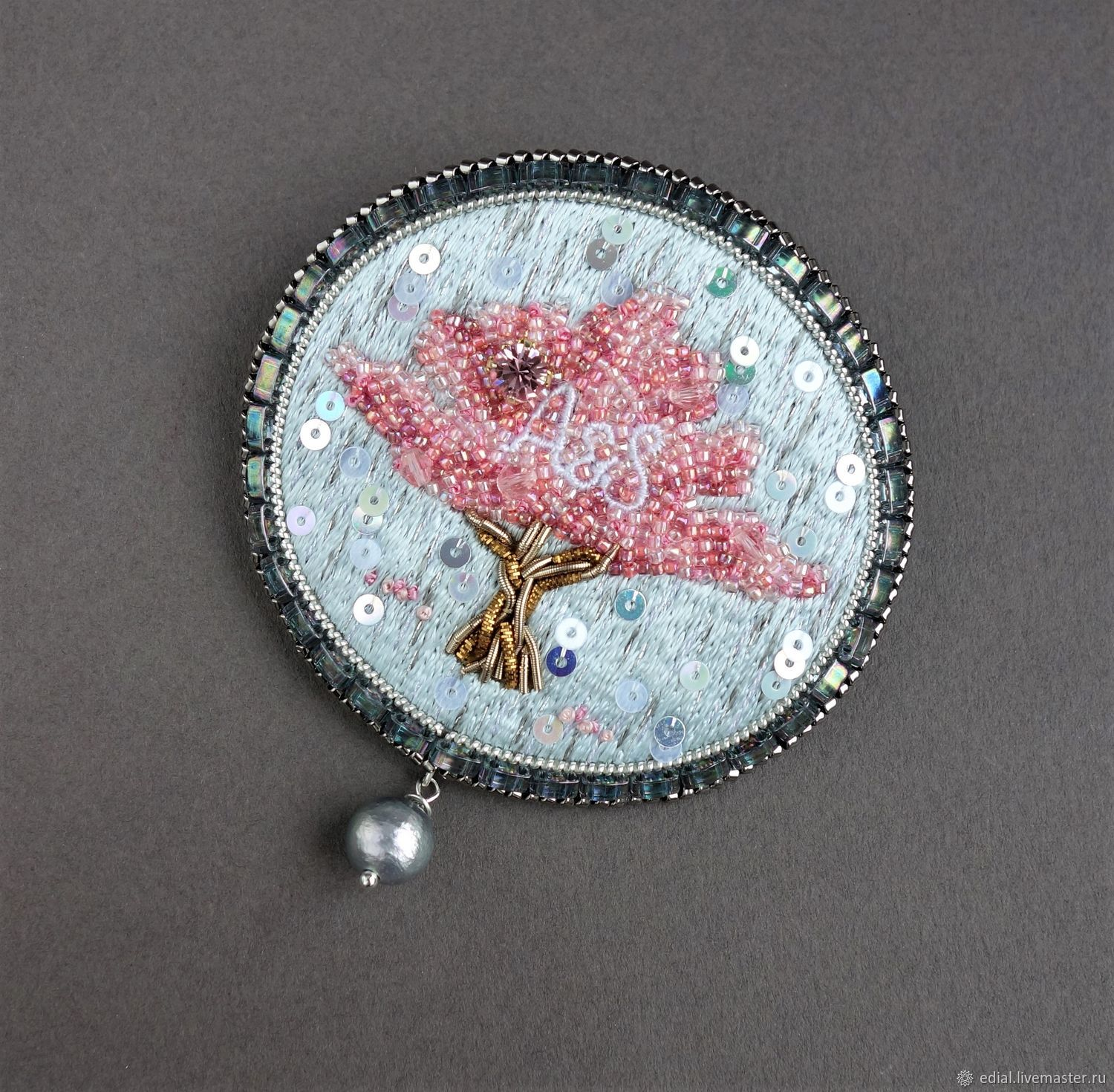 Brooch BLOSSOMING tree kanitel, swarovski, sequins, pearls, beads, Brooches, Moscow,  Фото №1