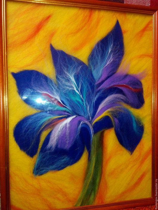 """Картины цветов ручной работы. Ярмарка Мастеров - ручная работа. Купить Картина из шерсти""""Цветок Самурая"""". Handmade. Тёмно-синий"""