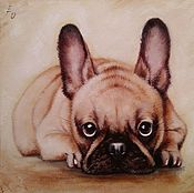 Картины и панно handmade. Livemaster - original item Oil painting with French bulldog I`m waiting for you. Handmade.