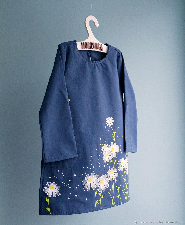 Платье для девочки синее с ромашками