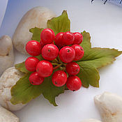 Украшения handmade. Livemaster - original item Brooch with berries of red viburnum