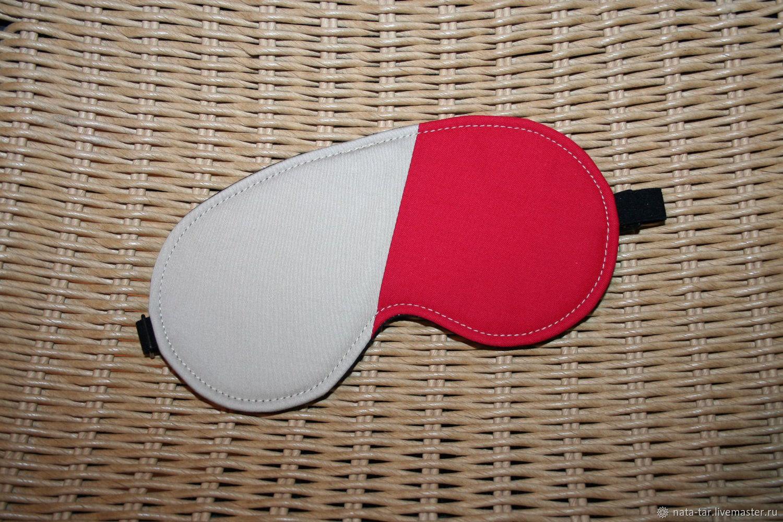 Релаксация, ароматерапия ручной работы. Ярмарка Мастеров - ручная работа. Купить Маска для сна Бежевый + красный (с регулируемой резинкой). Handmade.