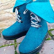 """Обувь ручной работы. Ярмарка Мастеров - ручная работа Эко сапожки из шерсти женские """"Бирюза в серебре"""". Handmade."""