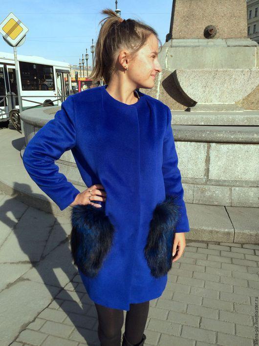 Верхняя одежда ручной работы. Ярмарка Мастеров - ручная работа. Купить Зимнее пальто. Handmade. Синий, пальто зимнее