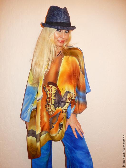 Большие размеры ручной работы. Ярмарка Мастеров - ручная работа. Купить блуза-туника-  Тень бабочки(С.Дали),продана. Handmade.