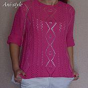 Одежда ручной работы. Ярмарка Мастеров - ручная работа Розовый ажурный свитер из хлопка. Handmade.
