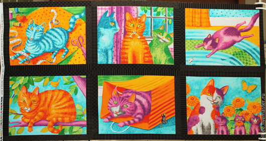 """Шитье ручной работы. Ярмарка Мастеров - ручная работа. Купить Панель """"Коты разноцветные"""". Handmade. Ткани, ткани коты"""
