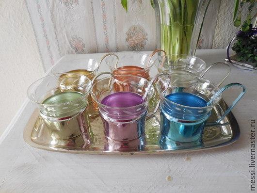 Винтажная посуда. Ярмарка Мастеров - ручная работа. Купить Поднос, шесть подстаканников со стаканами, винтаж. Handmade. Чайный сервиз