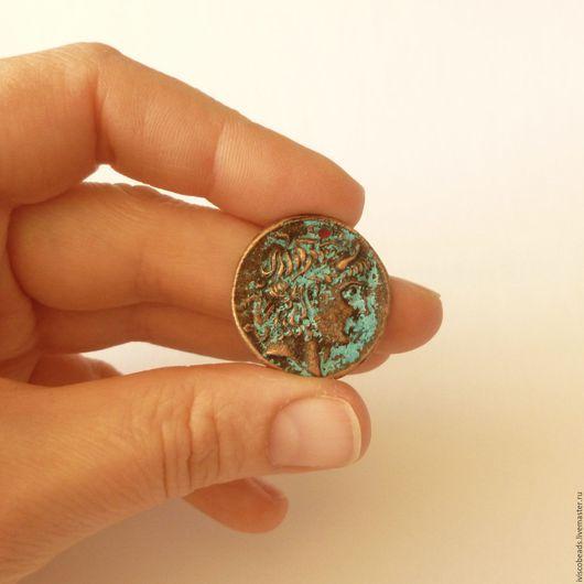Для украшений ручной работы. Ярмарка Мастеров - ручная работа. Купить Крупная подвеска монета с профилем - патинированная медь. Handmade.
