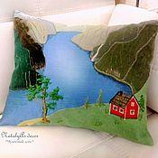 Для дома и интерьера ручной работы. Ярмарка Мастеров - ручная работа Подушка диванная, подушка декоративная, подушка Северная сторона. Handmade.