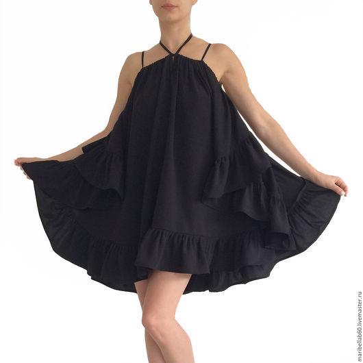 Платья ручной работы. Ярмарка Мастеров - ручная работа. Купить CHACHA женская туника платье с оборками. Handmade. Черный