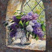 Картины и панно handmade. Livemaster - original item Lilac in window. Two thousand eighteen. Oil painting.. Handmade.