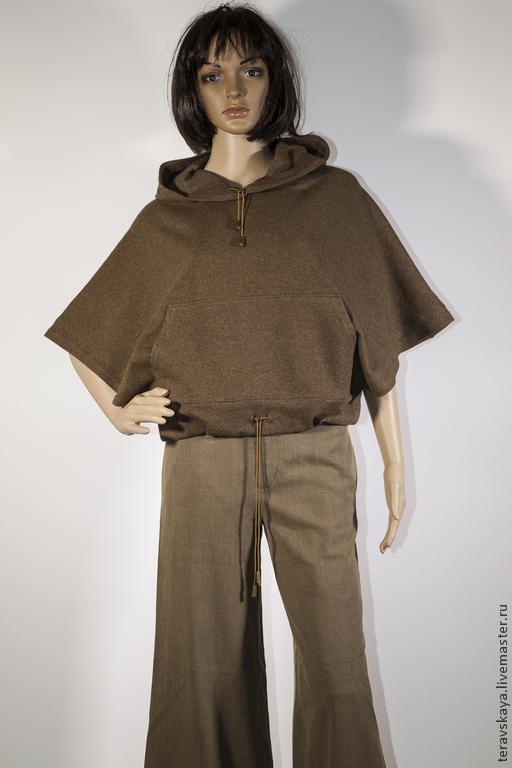 Кофты и свитера ручной работы. Ярмарка Мастеров - ручная работа. Купить Шерстяная накидка с капюшоном и брюки клеш. Handmade. Кабо