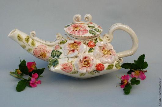 """Чайники, кофейники ручной работы. Ярмарка Мастеров - ручная работа. Купить """"Розовый шиповник"""" чайник заварочный. Handmade. Разноцветный"""