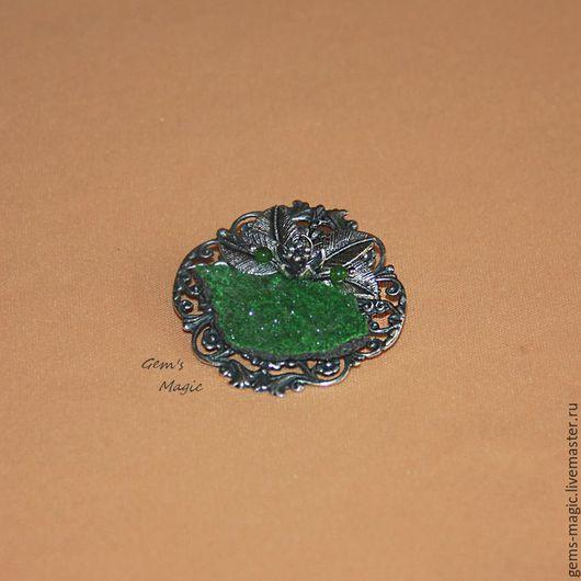 """Броши ручной работы. Ярмарка Мастеров - ручная работа. Купить Брошь-кулон из уваровита """"Изумрудная сказка"""". Handmade. Зеленый"""