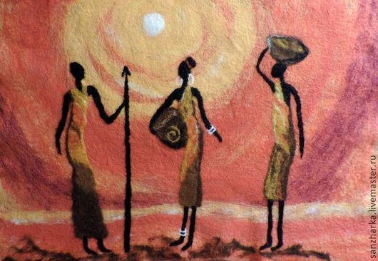 """Пейзаж ручной работы. Ярмарка Мастеров - ручная работа. Купить Картина из войлока  """"Западная Сахара"""". Handmade. Африка, африканские мотивы"""