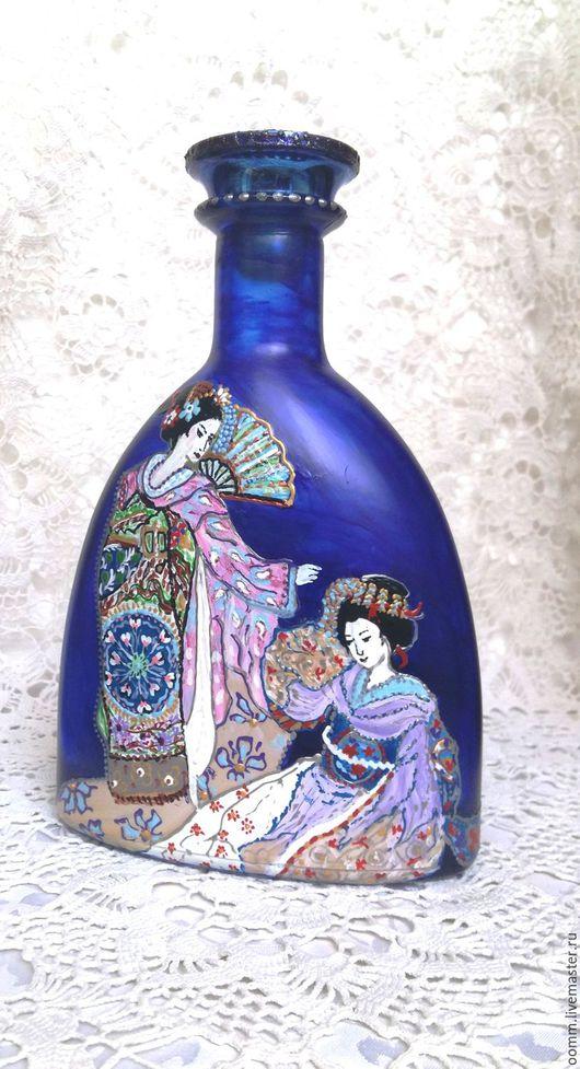 """Статуэтки ручной работы. Ярмарка Мастеров - ручная работа. Купить Бутылочка """"Гейши"""". Handmade. Тёмно-синий, ручная роспись, стекло"""