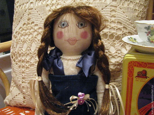 Коллекционные куклы ручной работы. Ярмарка Мастеров - ручная работа. Купить Красотка. Handmade. Тёмно-синий, подарок подруге, гипюр