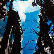 Картины и панно handmade. Livemaster - original item Picture. Cypress trees in the blue sky. Handmade.