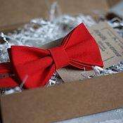 Галстуки ручной работы. Ярмарка Мастеров - ручная работа Галстук-бабочка красная. Handmade.