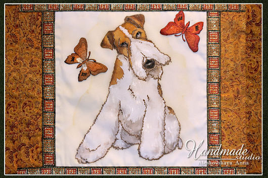 Home Textiles & Carpets handmade. Livemaster - handmade. Buy Cushion batik 'Fox Terrier'.Handmade, dogs