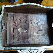 """Для дома и интерьера ручной работы. Ярмарка Мастеров - ручная работа Поднос """"Пожалуйте, кофе, господа"""". Handmade."""