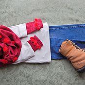 Аксессуары handmade. Livemaster - original item Burgundy knitted Snood and mitts. Handmade.