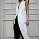 R00025 Стильный кардиган белый фрак летний кардиган летнее пальто без рукавов белое пальто стильное пальто кардиган длинный на лето белая одежда джинсовая одежда