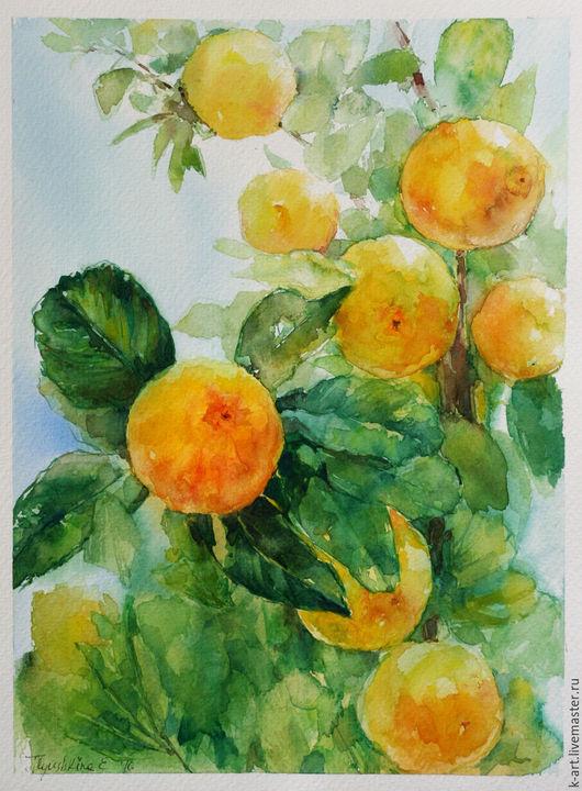 Пейзаж ручной работы. Ярмарка Мастеров - ручная работа. Купить Фрукты солнца. Handmade. Желтый, голубый, свежий аромат, гостиная
