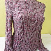Одежда ручной работы. Ярмарка Мастеров - ручная работа Пуловер с косами из пуха бэйби-альпака серо-малиновый.. Handmade.