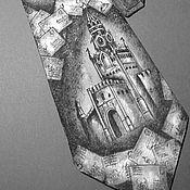 """Аксессуары ручной работы. Ярмарка Мастеров - ручная работа Галстук """"Письма из Москвы"""" ручная роспись натуральный шелк. Handmade."""
