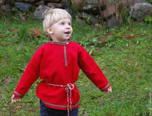 Одежда ручной работы. Ярмарка Мастеров - ручная работа. Купить косоворотка льняная детская. Handmade. Ярко-красный, косоворотка