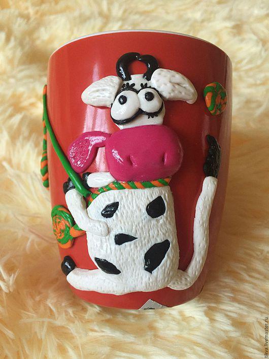 Кружки и чашки ручной работы. Ярмарка Мастеров - ручная работа. Купить Корова на рыбалке. Handmade. Комбинированный, корова, полимерная глина