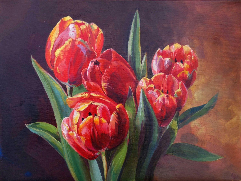 """Картина маслом """"Алые тюльпаны"""", Картины, Туапсе,  Фото №1"""