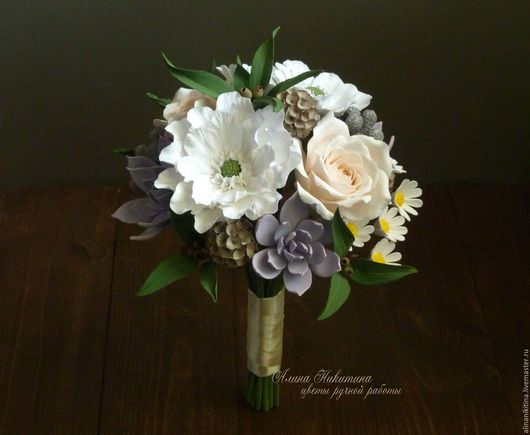 Свадебные цветы ручной работы. Ярмарка Мастеров - ручная работа. Купить Свадебный букет из полимерной глины. Handmade. Комбинированный