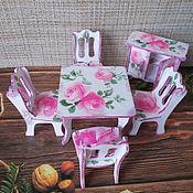 Мебель для кукол ручной работы. Ярмарка Мастеров - ручная работа Мебель для кукол, столовая, декупаж, масштаб 1:12, для кукол 7-9 см. Handmade.