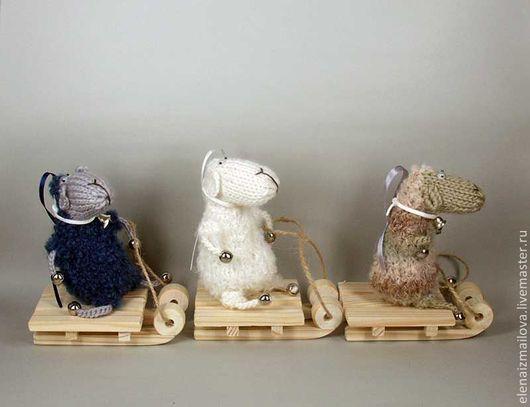 Игрушки животные, ручной работы. Ярмарка Мастеров - ручная работа. Купить новогодние Овечьи катания на санках 2015 Овечка игрушка. Handmade.