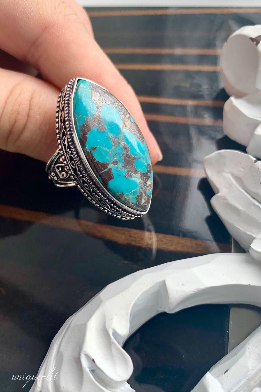 Blue Chrysocolla ring, Rings, Pushkino,  Фото №1