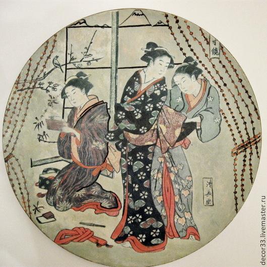 Люди, ручной работы. Ярмарка Мастеров - ручная работа. Купить Блюдо-панно Три гейши. Handmade. Блюдо, подарок к празднику
