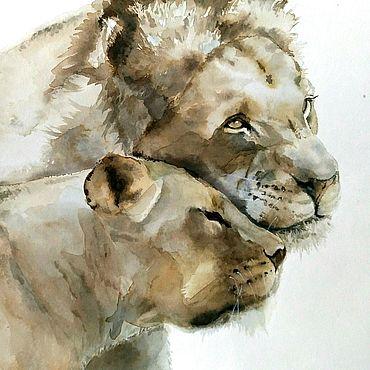Картины и панно ручной работы. Ярмарка Мастеров - ручная работа Картина акварелью Дикие кошки (серый бежевый коричневый подарок львам). Handmade.