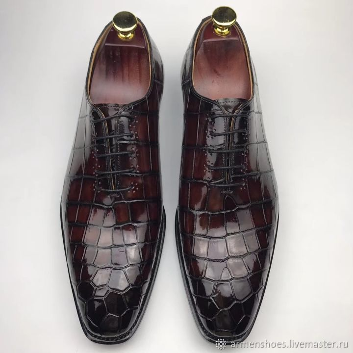 The classic oxfords, leather alligator strap, Burgundy color, Oxfords, Tosno,  Фото №1