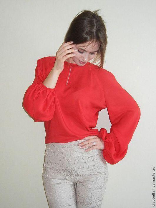 """Блузки ручной работы. Ярмарка Мастеров - ручная работа. Купить Блузочка """"La rose rouge"""". Handmade. Ярко-красный, красный"""