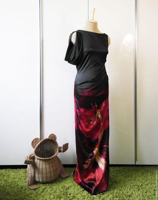 Одежда. Ярмарка Мастеров - ручная работа. Купить Платье новое из натурального шелка. Handmade. Черный, карен миллен