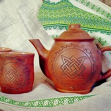 Tableware handmade. Livemaster - original item The tea pot and mugs with Slavic pattern. Handmade.